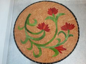 Table romaine : fabriquée en cours de mosaïque à Péret, Hérault 34
