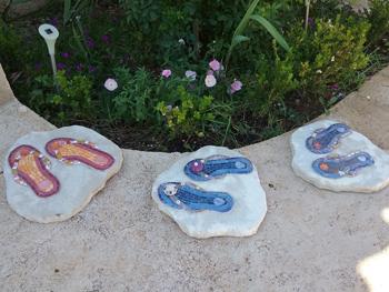 Tongs sur commande en mosaïque pour enjoliver votre extérieur, jardin, terrasse, bord de piscine